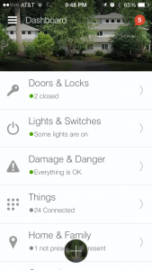 SmartThings home screen