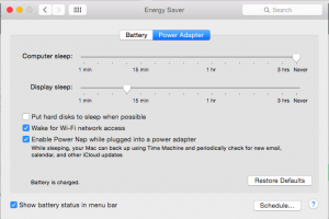 Energy Saver preference pane